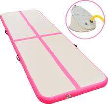vidaXL Uppblåsbar gymnastikmatta med pump 800x100x10 cm PVC rosa