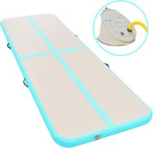 vidaXL Uppblåsbar gymnastikmatta med pump 400x100x10 cm PVC grön