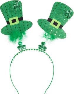 St. Patrick's Day huvudbonad cylinderhattar med fjädrar Grön