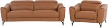 Sohvasetti nahkainen ruskea NARWIK