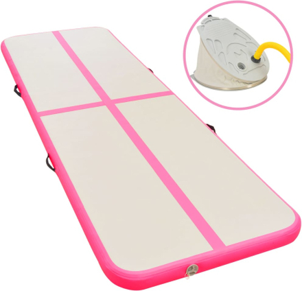 vidaXL Uppblåsbar gymnastikmatta med pump 300x100x10 cm PVC rosa