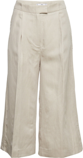 Linen-Blend Culotte Trousers Vida Byxor Creme MANGO