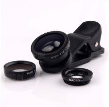 3 in 1 Mobile Phone Camera Lens Kit 180 Degree Fish Eye Lens + 2 in 1 Micro Lens + Wide Angle Lens