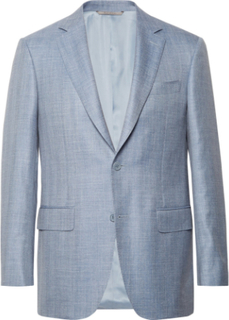 Slim-fit Light-blue Wool, Silk And Linen-blend Blazer - Blue