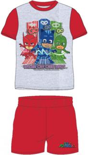 Rød og Grå Pysjheltene T-skjorte og Shorts til Barn