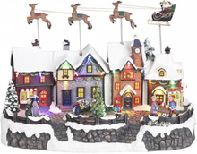 Landsby julenisse og slede - juleby Luville