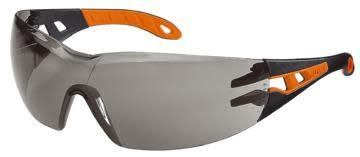 Sikkerhetsbrille Uvex Pheos, orange/sort med mørk linse
