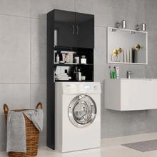 vidaXL vaskemaskineskab højglans 64 x 25,5 x 190 cm spånplade sort