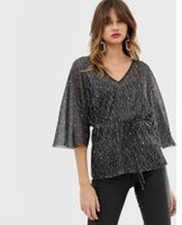 River Island glitter plisse blouse in blackRiver Island glitter plisse blouse in black - Black