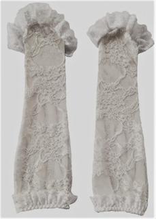 Vita långa handskar stl xs-l, handskar utan fingrar spetsärmar