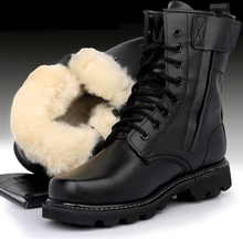 Unisex Steel Toe Shoes Men Leather Boots Warm Wool 36-46 Big Size Work Safety Boots Men Winter Shoes Retro Military Combat Boots