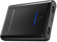 RAVPower Element 10000 mAh powerbank m. 2 x USB i sort