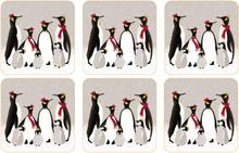Christmas Penguin glasunderlägg 6-pack Grå