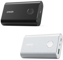 Anker PowerCore+ 10 050mAh powerbank Quick Charge 3.0 sort/sølv