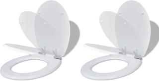 vidaXL toiletsæder med soft close-låg 2 stk. MDF hvid