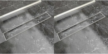 vidaXL Avlång golvbrunn 2 st rostfritt stål 730x140 mm