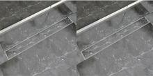 vidaXL lineære bruseafløb 2 stk. 930 x 140 mm rustfrit stål