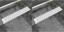 vidaXL lineære bruseafløb 2 stk. linjedesign 630 x 140 mm rustfrit stål