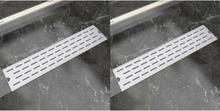 vidaXL Avlång golvbrunn 2 st rak rostfritt stål 530x140 mm