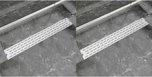vidaXL Avlång golvbrunn 2 st rak rostfritt stål 830x140 mm