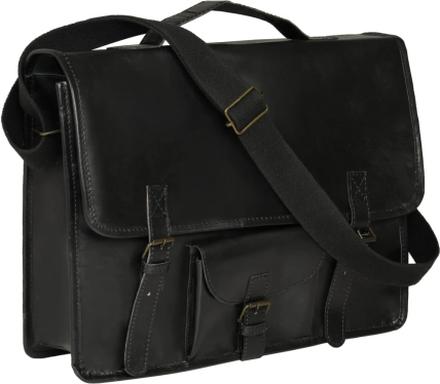 vidaXL Laptopväska äkta läder svart