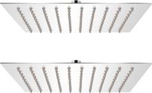 vidaXL Regnduschhuvud 2 st rostfritt stål 20x20 cm