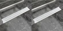 vidaXL Avlång golvbrunn 2 st vågig rostfritt stål 730x140 mm