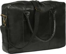 vidaXL Laptopväska med dragkedja äkta läder svart
