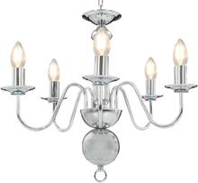 vidaXL Takkrona silver 5 x E14-glödlampor