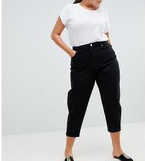 ASOS DESIGN Curve balloon boyfriend jeans in clean black - Clean black