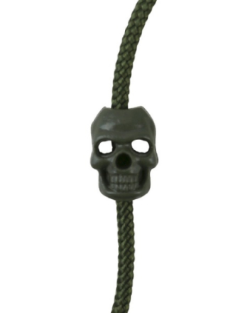 Cord Stoppers Skull - Olive - 10stk