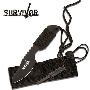 Survivor Outdoor Kniv med Firestarter - Sort