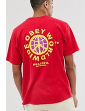 Obey Peaceful Resistance t-shirt with back print in red - Tomato red