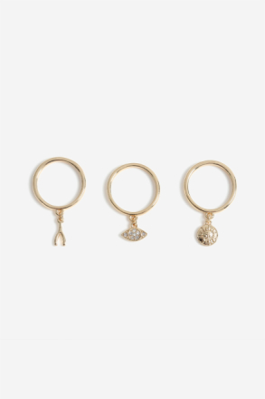 Gold Look Eye Charm Ring Pack