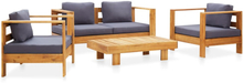 vidaXL loungesæt 4 dele med hynder massivt akacietræ grå