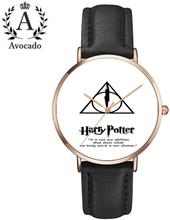 Harry potter watch rose gold black strap quartz watch relogio feminino luxury brand men/women cartoon watches