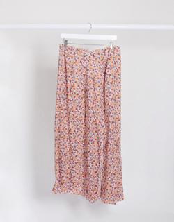 ASOS DESIGN Maternity— Pink småblomstret nederdel med dobbelt slids-Multifarvet
