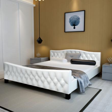 vidaXL Parisänky patjalla Keinonahka 140x200 cm Valkoinen