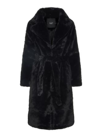 VERO MODA Long Faux Fur Coat Women Black