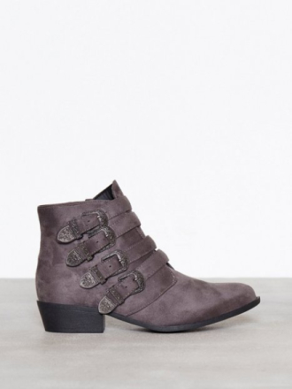 Duffy Buckle Ankle Boots Grå