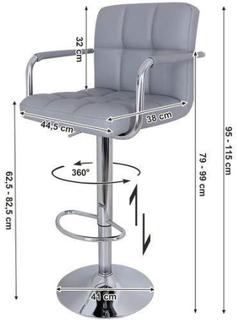 2 x Barstole med forkromet ramme. 360 graders roterende med bløde polstrede stole - grå