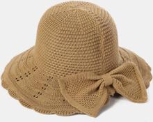 Frauen Bowknot Dekoration Öffnung Atmungsaktives Sonnenschutzstroh Hut