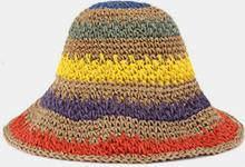 Wowen gestreifte Regenbogen Kontrastfarbe Strand lässig faltbar Stroh Hut