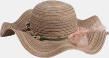 Frauen Blume Bowknot Dekoration Welle Hut Breite Krempe Sonnenschutz Stroh Hut