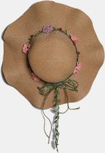 Frauen Blumendekoration Welle Hut Breite Krempe Ländliche Sonnencreme Stroh Hut