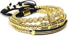 eStore 3 st Armband - Guldfärgade pärlor och strass
