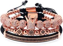 eStore Armbandsset - Strass i svart och vitt, Rosé