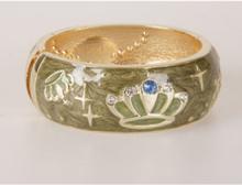 Olijfgroene goldtone geëmailleerde scharnier armband