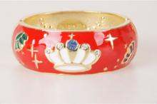 Rode goldtone geëmailleerde scharnier armband