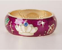 Paarse goldtone geëmailleerde scharnier armband
